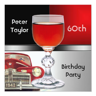"Red Metal Silver Red Car Mens 60th Birthday Man 5.25"" Square Invitation Card"