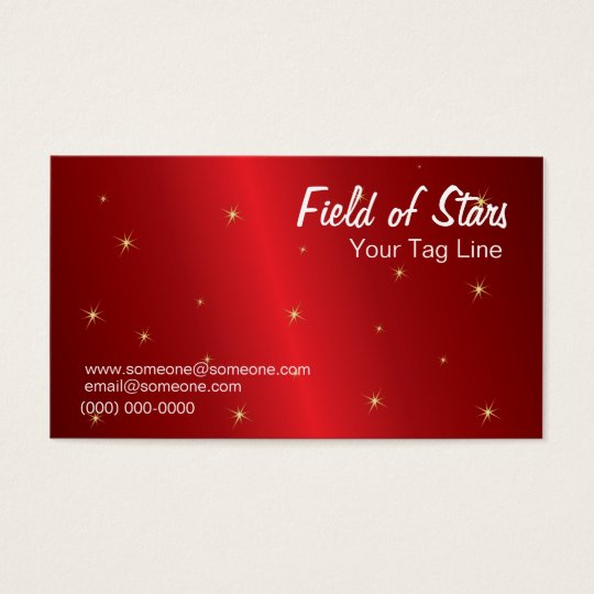 Red Metallic and Star Business Card