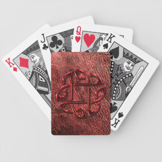 Red metallic celtic knot on genuine leather bicycle playing cards