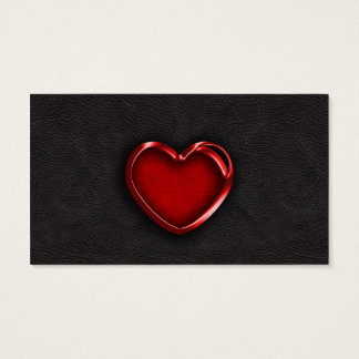 Red Metallic Heart on Black Leather
