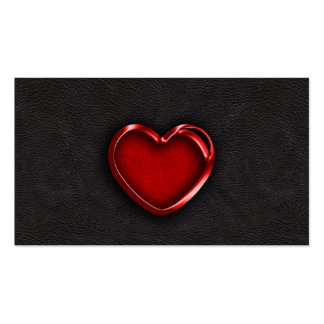 Red Metallic Heart on Black Leather Double-Sided Standard Business Cards (Pack Of 100)