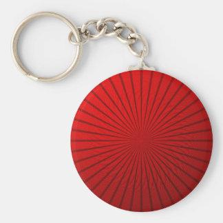 Red Metallic Illusion Basic Round Button Key Ring