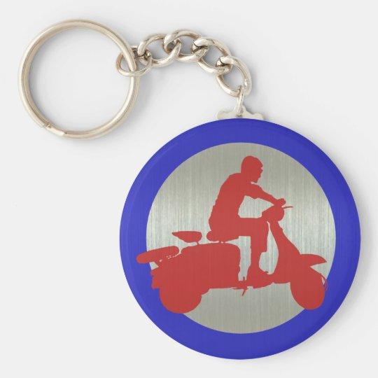 Red Metallic Scooter Rider Target Basic Round Button Key Ring