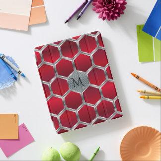 Red & Metallic Silver Geometric Pattern iPad Cover
