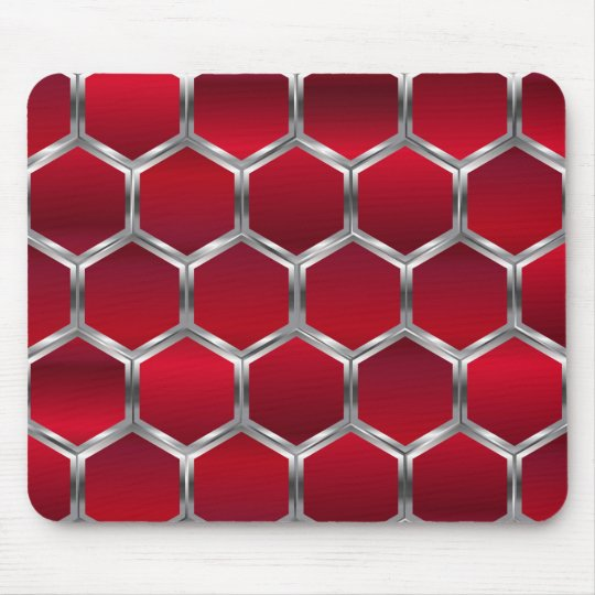 Red & Metallic Silver Octagons Pattern Mouse Mat
