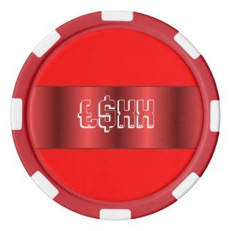 Red metallic strip customize poker chip set