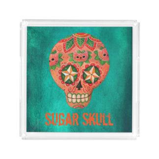 Red Mexican Sugar Skull Acrylic Tray