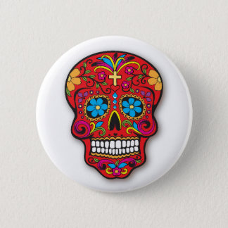 Red Mexican Sugar Skull Day of the Dead 6 Cm Round Badge