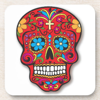 Red Mexican Sugar Skull Day of the Dead Coaster