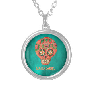 Red Mexican Sugar Skull Round Pendant Necklace