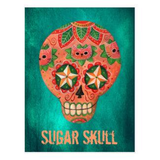 Red Mexican Sugar Skull Postcard