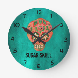 Red Mexican Sugar Skull Round Clock