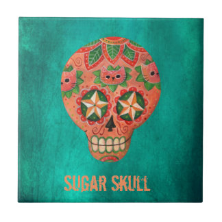 Red Mexican Sugar Skull Tile