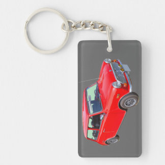 Red Mini Cooper Antique Car Double-Sided Rectangular Acrylic Key Ring