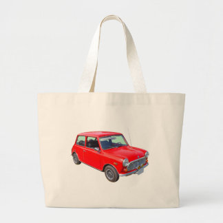 Red Mini Cooper Antique Car Large Tote Bag