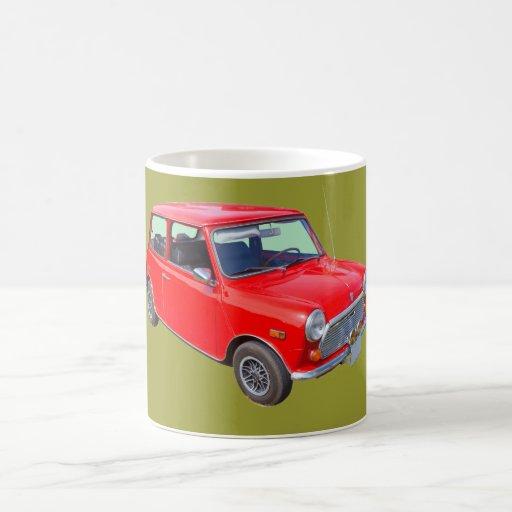 Red Mini Cooper Antique Car Mugs