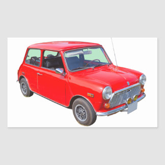 Red Mini Cooper Antique Car Rectangular Sticker