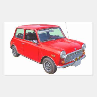 Red Mini Cooper Antique Car Rectangular Stickers