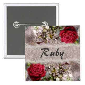 Red Mini Rose Torn Edges Painting Name Tag Buttons