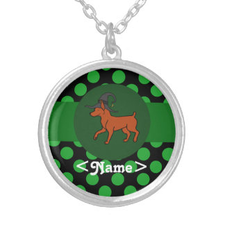 Red Miniature Pinscher Witch with Green Dots Round Pendant Necklace