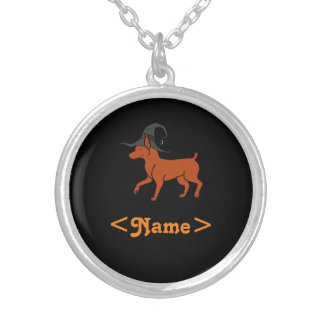 Red Miniature Pinscher with Witch Hat Round Pendant Necklace