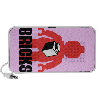 Red Minifig with BRICKS slogan Portable Speakers