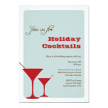 Red mint Christmas holiday cocktail martini retro Personalised Invite