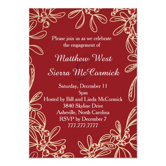 Red Mistletoe Holiday Engagement Party Card