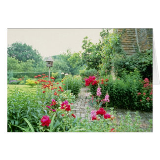 Red Mixed Cottage Garden - Peony, Pyrethrum, Alliu Greeting Card