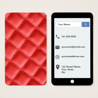 Red Mock Quilted Texture iPhone Style Template Business Card