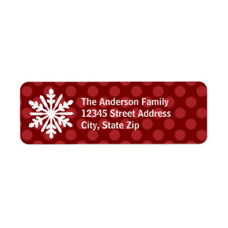 Red Mod Dots Snowflake - Address Label