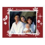 Red Modern Christmas Family  Photo Postcard