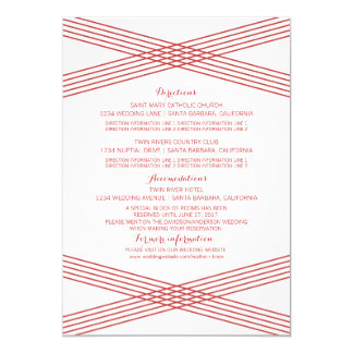 "Red Modern Deco Information Card 5"" X 7"" Invitation Card"