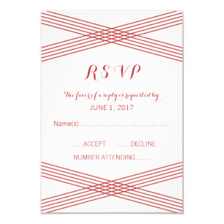 "Red Modern Deco Response Card 3.5"" X 5"" Invitation Card"