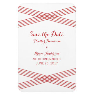 Red Modern Deco Save the Date Magnet Rectangular Photo Magnet