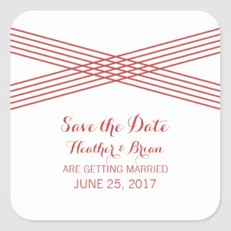 Red Modern Deco Save the Date Stickers Square Sticker