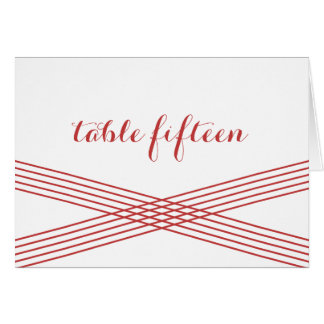Red Modern Deco Table Number Card Greeting Card