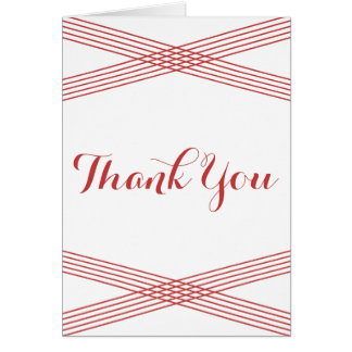 Red Modern Deco Thank You Card Greeting Card