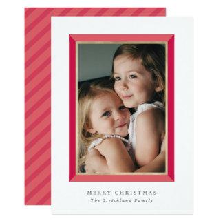 Red Modern Frame Christmas Photo Card 13 Cm X 18 Cm Invitation Card