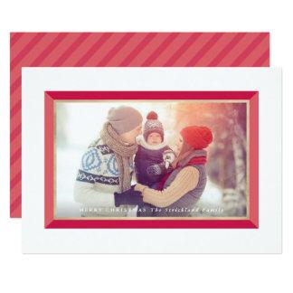 Red Modern Frame Landscape Christmas Photo Card