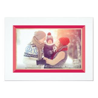 Red Modern Frame Landscape Christmas Photo Card 13 Cm X 18 Cm Invitation Card