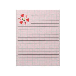red modern geometric pattern notepad