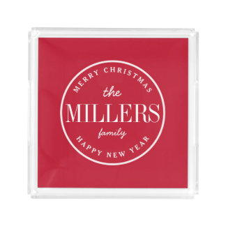 RED | Modern Merry Christmas and Happy New Year Acrylic Tray