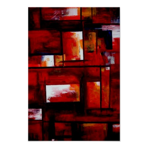 Red Modern Oriental Abstract Poster Print