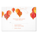 Red Modern Paper Lanterns Wedding RSVP (3.5x5) Personalised Announcements
