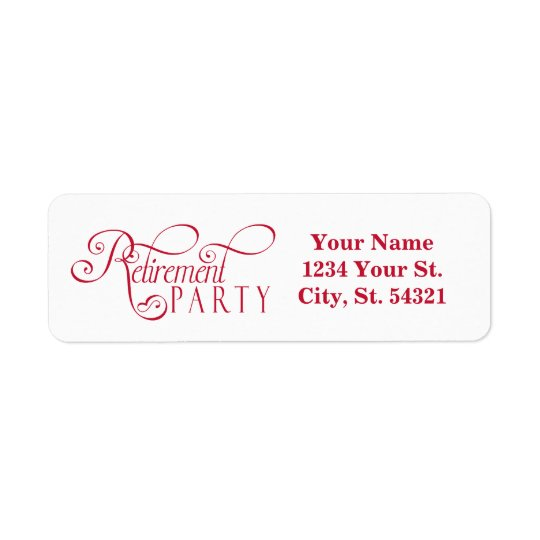 Red, Modern Retirement Address Labels