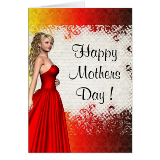 Red modern romantic mothers day card
