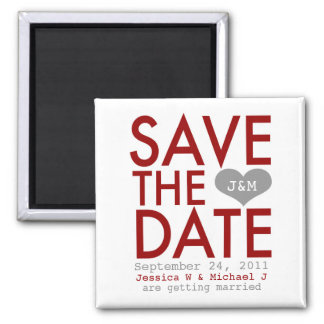 Red Modern Save the Date Square Magnet