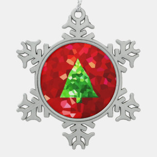 Red Modern Stained Glass Holiday Christmas Tree Snowflake Pewter Christmas Ornament