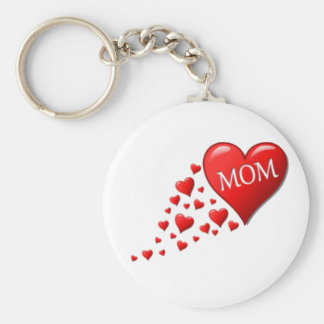 Red Mom Hearts Keychain
